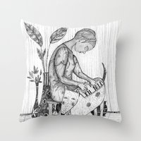 piano Throw Pillows featuring piano by Agnes Laczo