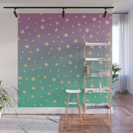 Pink turquoise gradient faux gold glitter stars Wall Mural