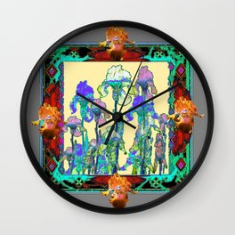 Ornate Grey-Wine-Turquoise  Color Iris Garden Art Design Wall Clock