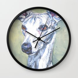 Whippet dog portrait art from an original painting by L.A.Shepard Wall Clock