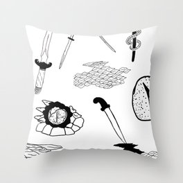 Daggers & Snakes Flash Tattoo Version Throw Pillow