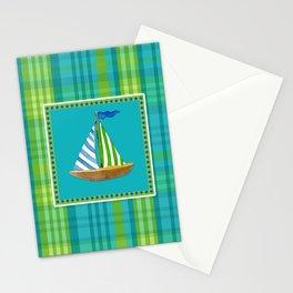 Nautical Sailboat Beach Blue Star Little Boy Plaid  Stationery Cards