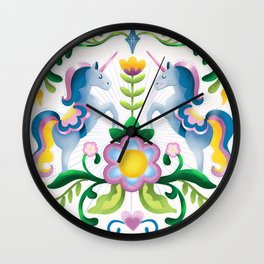 The Royal Society Of Cute Unicorns Light Background Wall Clock