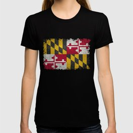 State flag of Flag of Maryland, Vintage retro style T-shirt