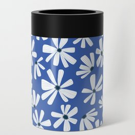 Retro Blooms Blue Can Cooler