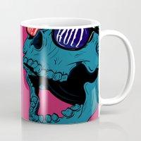 rock n roll Mugs featuring Rock N' Roll Skull by Diseños Fofo