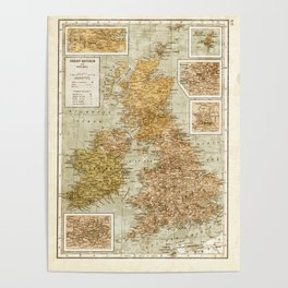 Vintage Map of Great Britain and Ireland, 1947 Poster