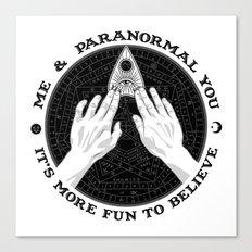 Me & Paranormal You - James Roper Design - Ouija B&W (black lettering) Canvas Print