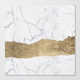 Elegant faux gold foil gray white modern marble Canvas Print