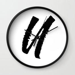 Letter U Ink Monogram Wall Clock