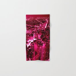 Chicago Skyline Hot Pink Hand & Bath Towel