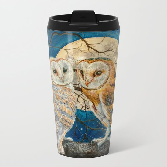 Owls Moon Stars Metal Travel Mug