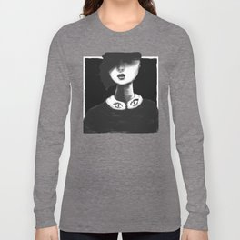 Contemporary Black and White Collar Long Sleeve T-shirt