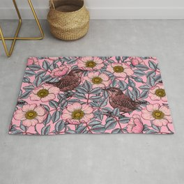 Wrens in the roses   Rug