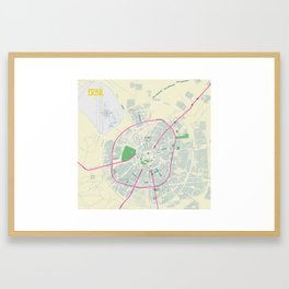 Minimalist Modern Map of Erbil, Kurdistan, Iraq 2a Framed Art Print