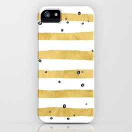 Modern hand painted yellow gold black watercolor splatters stripes iPhone Case