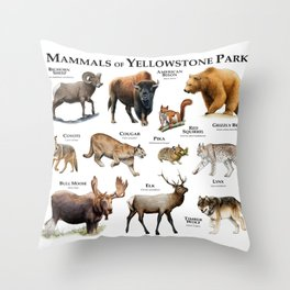 Mammals of Yellowstone Park Throw Pillow