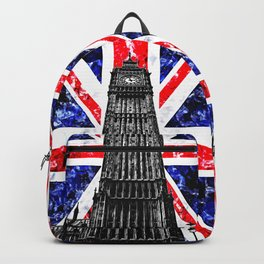 Big Ben (also known as Elizabeth Tower) with the Union Jack (UK flag) in the Backgroung - UK and London Cultural Icons and Symbols - Amazing Watercolor plus Oil painting Backpack