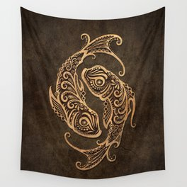 Vintage Rustic Pisces Zodiac Sign Wall Tapestry
