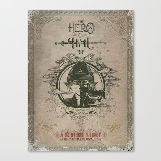 Legend of Zelda Link the Hero of Time Vintage Book Cover Canvas Print