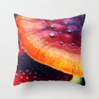 mushrooms Throw Pillows featuring mushrooms by JoanaRosaC