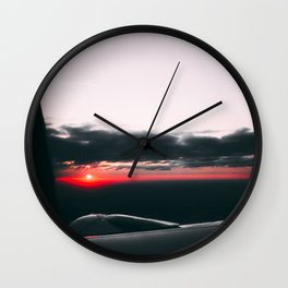 Sunset from airplane, red light Wall Clock