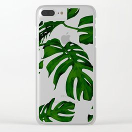 Simply Tropical Palm Leaves in Jungle Green Clear iPhone Case