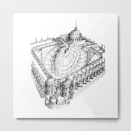 Temple . XVIII Century. Drawing by Tereza Del Pilar Metal Print