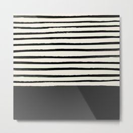 Charcoal Gray x Stripes Metal Print