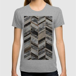 Abstract Chevron Pattern - Black and White Marble T-shirt