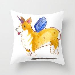 Unicorgi in Technicolor!  Throw Pillow