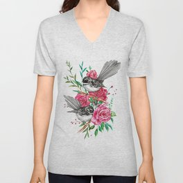 Floral Piwakawakas Unisex V-Neck