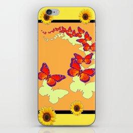 Monarch Butterflies Sunflowers Cumin Color & Yellow Art iPhone Skin
