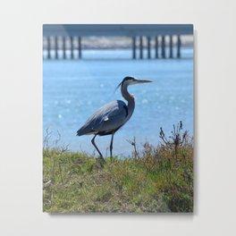 heron by the bridge Metal Print