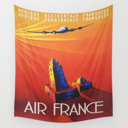 Vintage Mid Century Travel Poster Air France Jet African Islamic Mosque Monochrome Orange Sunset Wall Tapestry