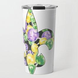 Fleur De Lis Mardi Gras Beads Travel Mug