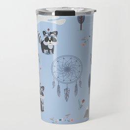 Boho Racoons Pattern Travel Mug