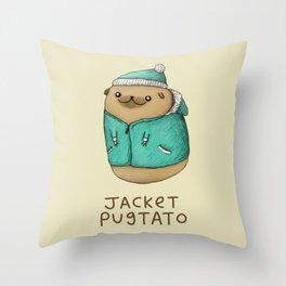 Jacket Pugtato Throw Pillow