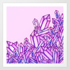 Pink purple watercolor paint crystals gem pattern Art Print