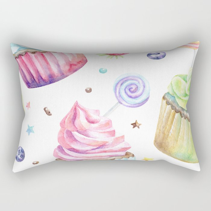 Cupcake Pattern Rectangular Pillow