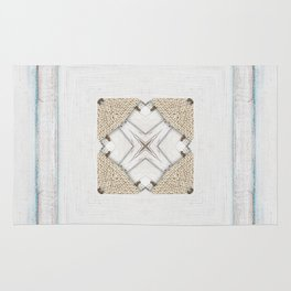 Country Style White Wood Frame Burlap Pattern Rug