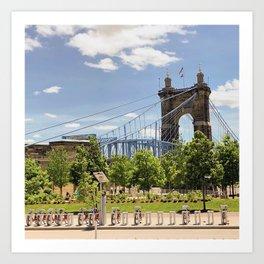 Cincinnati's John A. Roebling Bridge Art Print