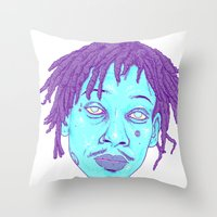 wiz khalifa Throw Pillows featuring WIZ by Mitch Meseke