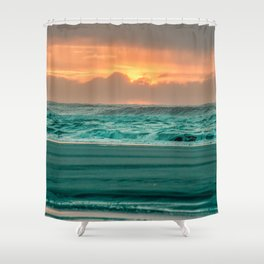 Turquoise Ocean Pink Sunset Shower Curtain