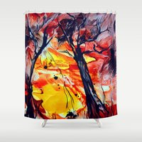 sunrise Shower Curtains featuring SunRise by ART de Luna
