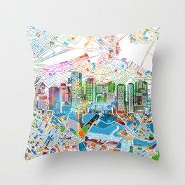 boston city skyline map Throw Pillow
