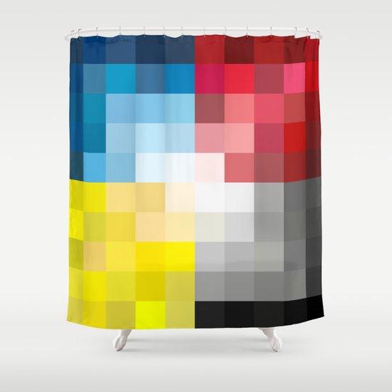 CMYK Pixel Shower Curtain