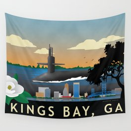 Kings Bay, GA - Retro Submarine Travel Poster Wall Tapestry