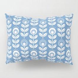 SCANDI GARDEN 01-5, white on blue Pillow Sham