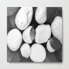 Zen White Stones On A Black Background #decor #society6 #buyart Metal Print